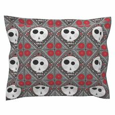 Halloween Geometric Emo Punk Goth Embroidery Skull Pillow Sham by Roostery