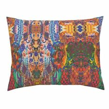 Florals Stylized Lattice Work Contemporary Abstract Pillow Sham by Roostery