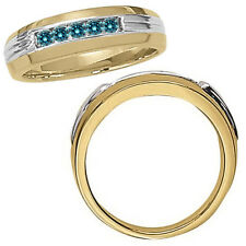 0.25 Carat Blue Classy Diamond Channel Mans Ring 14K White Yellow Two Tone Gold