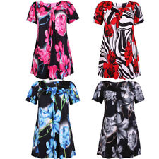 Ladies Printed Flower Short Sleeves Smock Stretch Scoop Neck Tunic T-Shirt Top