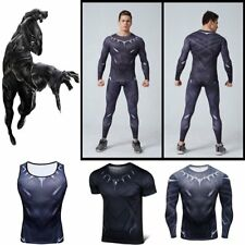 Black Panther Men Superhero Compression Short T-shirt Cycling Jersey Long Pants