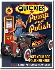 Quickies Pump and Polish Tin Sign 13 x 16in Signs Decorative Collectibles