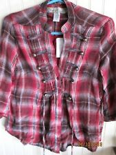 ANGEL KISS BLOUSE SIZE S & M JUNIORS. RED PLAID NWT