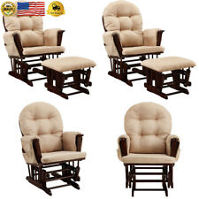 Baby Relax Harbour Glider Rocker and Ottoman Espresso with Beige Cushions
