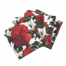 Roses Botanical Redoute Floral Red Cotton Dinner Napkins by Roostery Set of 4