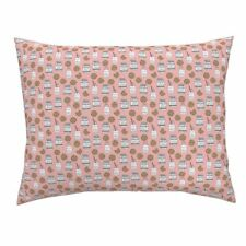 Milk Cookies Milk And Cookies Pink Food Kids Pillow Sham by Roostery