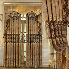 Luxury Hollow coffee chenille Embroidery cloth curtain tulle valance N273