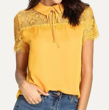 3 Colors Yellow White Black Tie Neck Lace Elegant Blouse Top Casual Work