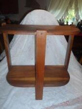 Vntg~Antq Heavy Hand-Crafted Wood 3-Leg 2-Tier Side Wall Table Plant Stand Shelf