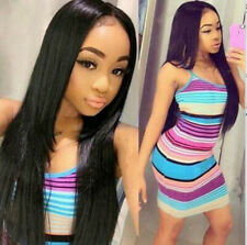 7A Indian Remy Straight Hair Extension Human Hair Weave Bundle Natural Black