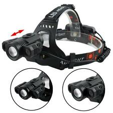 Zoomable CREE XML T6 3X LED 20000LM Headlamp 4 Modes 2X18650 Flashlight Torch GA