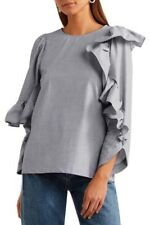 NWT CLU Grey Asymmetric Ruffled Cotton Top Sz S M  290943F