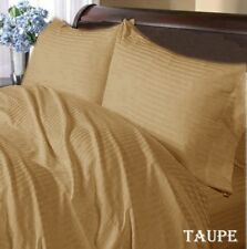 US Sizes All New Bedding Items 1000TC Soft Egyptian Cotton Taupe Striped