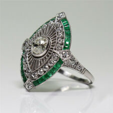 Charming 925 Silver Emerald Ring Wedding Bridal Women Jewelry Party Gift Sz 5-10