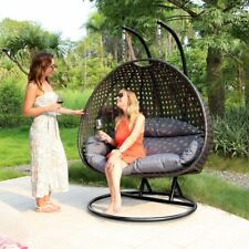 Dubai 2People Outdoor Rattan Swing Chair Patio Wicker Hanging  Hammock Egg Chair