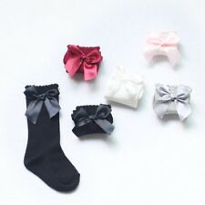 Baby Girls Winter Solid Warm Knee High Socks with Bows Princess Cute Long Tube