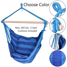 Hanging Rope Hammock Chair Swing Seat Indoor Outdoor 2 Seat Cushions Included