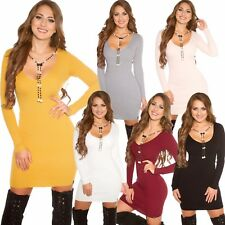Ladies Knit Dress Knitted Long Pullover Sweater Necklace S 32 34 36 Warm NEW