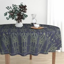 Round Tablecloth Blue Yellow Church Religious Medieval Blueprint Cotton Sateen