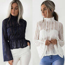 Fashion Women's Summer Long Sleeve Lace Casual Blouse Loose Cotton Tops T Shirt