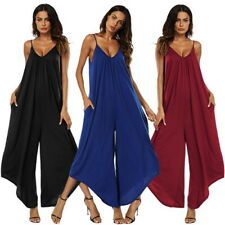 Summer Women Romper Solid Loose Sling Wide Leg Jumpsuit Casual Trousers Playsuit