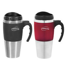 2 X Thermos STAINLESS STEEL VACUUM INSULATED Cafe Travel Mug Double Wall 450ML