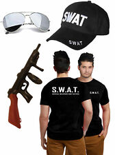 Mens SWAT Police T-Shirt Tommy Gun Glasses Cap Military FBI Fancy Dress Outfit