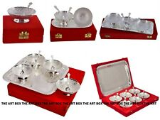 Indian Engraved Silver Pure Brass Bowl Set Diwali Hand-Crafted Gifts Set Decor