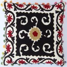 "EMBROIDERED VINTAGE PILLOW CASES SUZANI CUSHION COVER 16"" HANDMADE PILLOW COVER"
