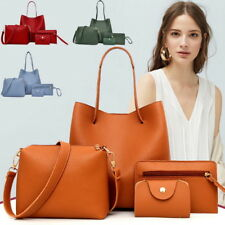 4Pcs/Set Women PU Leather Handbag Shoulder Bag Tote Purse Satchel Messenger Bags