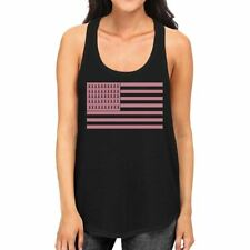 Breast Cancer Awareness Pink Flag Womens Black Tank Top