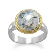 Ancient Roman Glass Ring Two Tone Gold-plated Sterling Silver