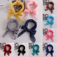 Hair Tie Band Solid Color Head Neck Wrap Square Scarf Chiffon Silk Shawl