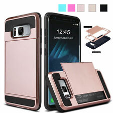 For Samsung Galaxy Hybrid Armor Case With Slide Card Slot Holder Case Cover Skin