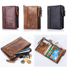 Gents Mens Zipper Luxury Quality Leather Wallet Credit Card Holder Coin Purse CG