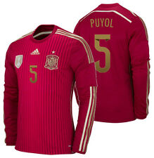 ADIDAS CARLES PUYOL SPAIN LONG SLEEVE HOME JERSEY FIFA WORLD CUP BRAZIL 2014