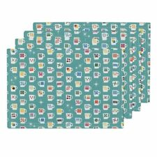 Cloth Placemats Coffee Kitchen Retro Vintage Midcentury Modern Atomic Set of 4