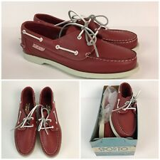 CHOOSE SIZE Vintage 1980s Red Leather Lace Up Deck Shoes Topsiders Boat Shoes