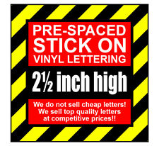 9 Characters 2.5 inch 64mm high pre-spaced stick on vinyl letters & numbers