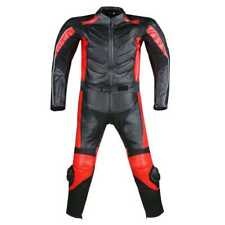 New Men's 2PC MotorcycleREAL Leather Racing Armor Suit  Two Piece Red All SizeS