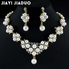 Crystal Flower Necklace and Earring Set simulated Pearl Pendant Jewelry Set