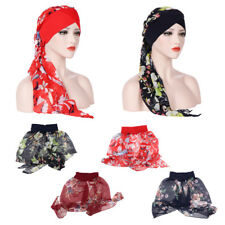 Women's Cancer Chemo Ruffle Hat Beanie Scarf Turban Head Wrap Sleep Caps