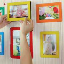 "7Pcs Rainbow Color Photo Frames Set Home Fridge Magnet Sticker 6"" Picture Frame"