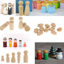 Mixed Styles Blank DIY Wooden People Peg Dolls Wedding Cake Toppers Craft Toys