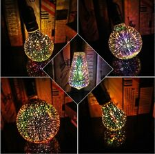 220V 4W E27 3D Starry Sky Firework LED Light Glass Bulb Bedroom  Bar Lamp Decor