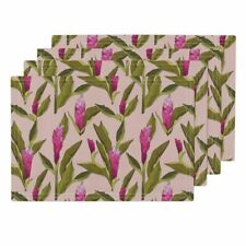 Cloth Placemats Ginger Floral Flower Tropical Pink Holli Zollinger Set of 4