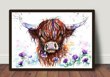 Highland Cow and Thistles Watercolour Painting,Original Art, Prints, Art Card