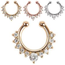 1x Fake Septum Clicker Crystal Nose Ring Non Piercing Hanger Clip On Jewelry