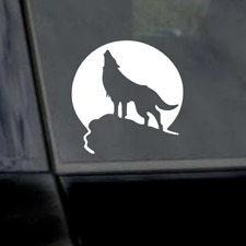 "6"" Howling Wolf on rock with Moon Sticker-Wolf Tattoo-Wolf Emblem-Car Decal"