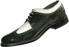 Mens Grey and White Formal Spectators Wingtip Shoes